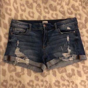 Sneak Peek Cuffed Distressed Denim Mid-rise Shorts